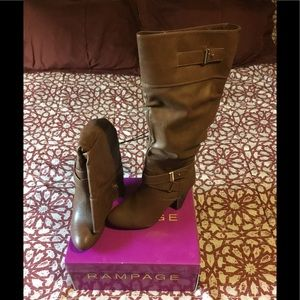 Rampage Eliven Round Toe Black Knee High Boots